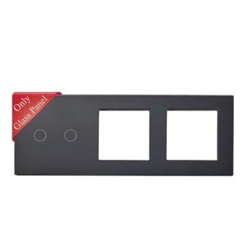 SMARTZILLA üveg lap 2 csatornás kapcsolóhoz + 2 dugalj keret fekete