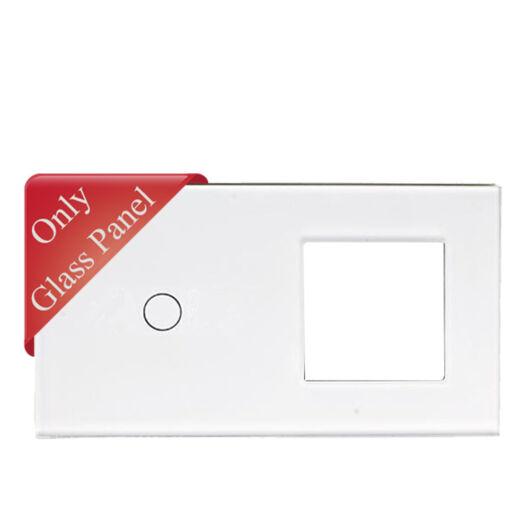 SMARTZILLA üveg lap 1 csatornás kapcsolóhoz + 1 dugalj keret fehér