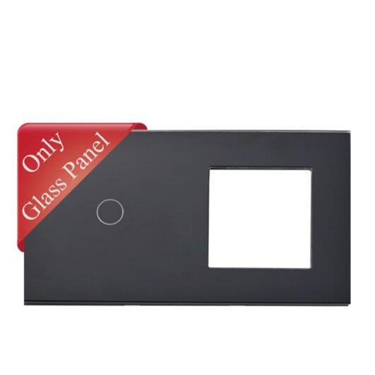 SMARTZILLA üveg lap 1 csatornás kapcsolóhoz + 1 dugalj keret fekete