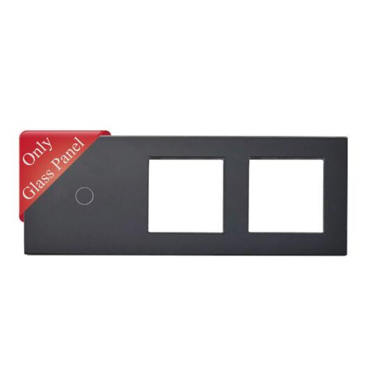 SMARTZILLA üveg lap 1 csatornás kapcsolóhoz + 2 dugalj keret fekete