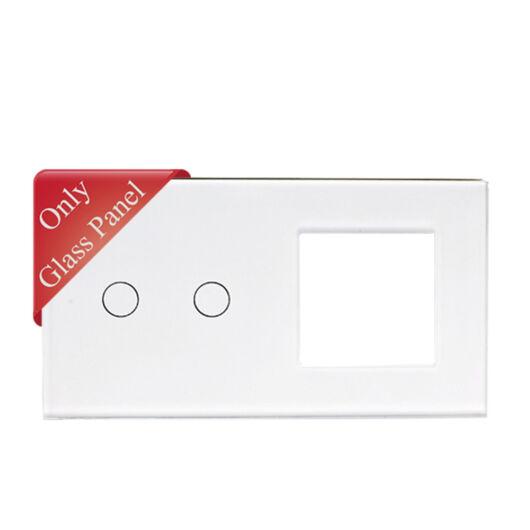 SMARTZILLA üveg lap 2 csatornás kapcsolóhoz + 1 dugalj keret fehér