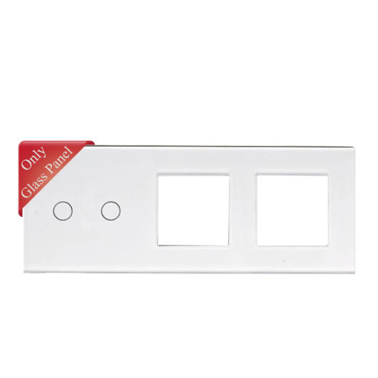 SMARTZILLA üveg lap 2 csatornás kapcsolóhoz + 2 dugalj keret fehér