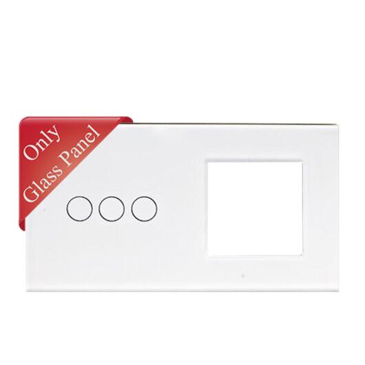 SMARTZILLA üveg lap 3 csatornás kapcsolóhoz + 1 dugalj keret fehér