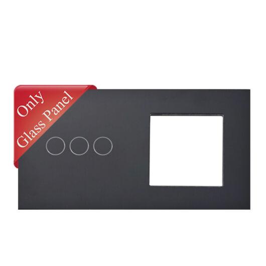 SMARTZILLA üveg lap 3 csatornás kapcsolóhoz + 1 dugalj keret fekete