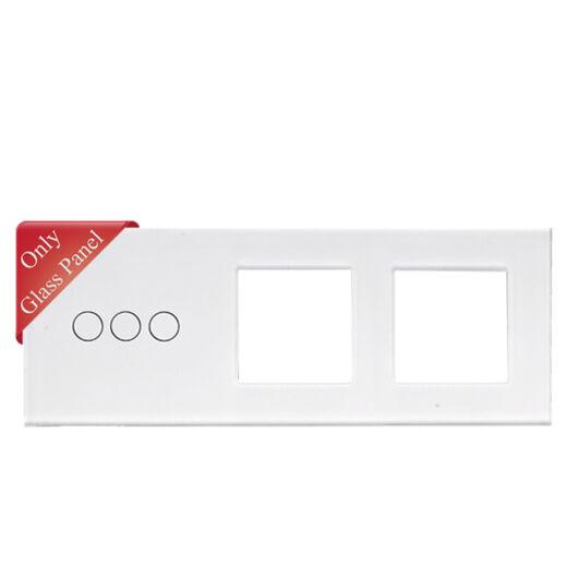 SMARTZILLA üveg lap 3 csatornás kapcsolóhoz + 2 dugalj keret fehér