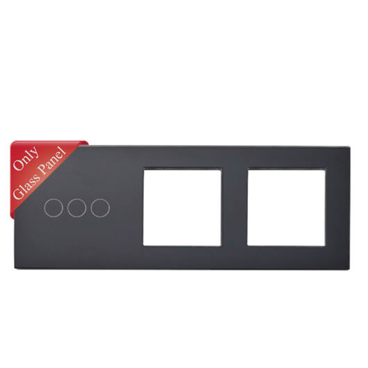 SMARTZILLA üveg lap 3 csatornás kapcsolóhoz + 2 dugalj keret fekete
