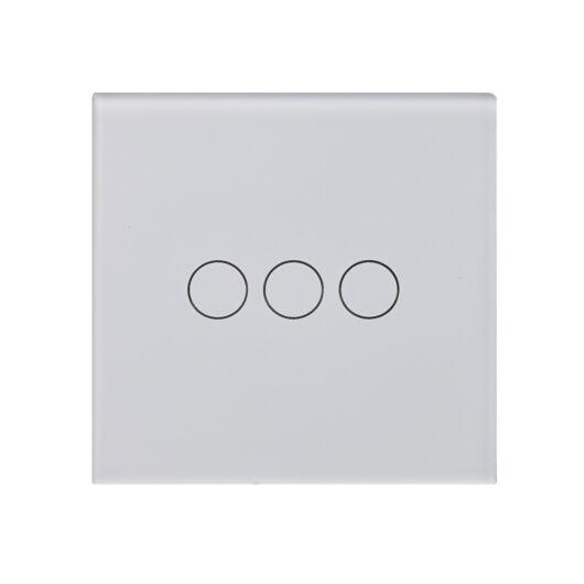 SMARTZILLA üveg lap 3 csatornás kapcsolóhoz 86*86 fehér