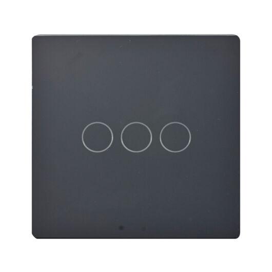 SMARTZILLA üveg lap 3 csatornás kapcsolóhoz 86*86 fekete